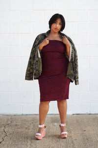 Burgundy Tube Dress