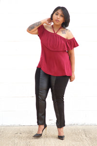 Burgundy Tie Neck Top