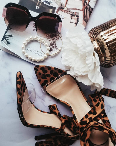 Leopard and Clear Tie Up Heels