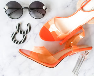 Orange And Clear Heel