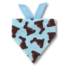 Load image into Gallery viewer, Easter bandana - chocolate bunny on blue