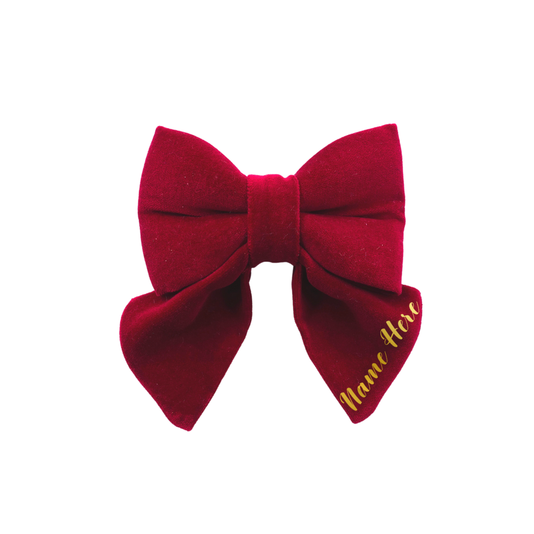 Christmas Velvet Personalised - Sailor Bow