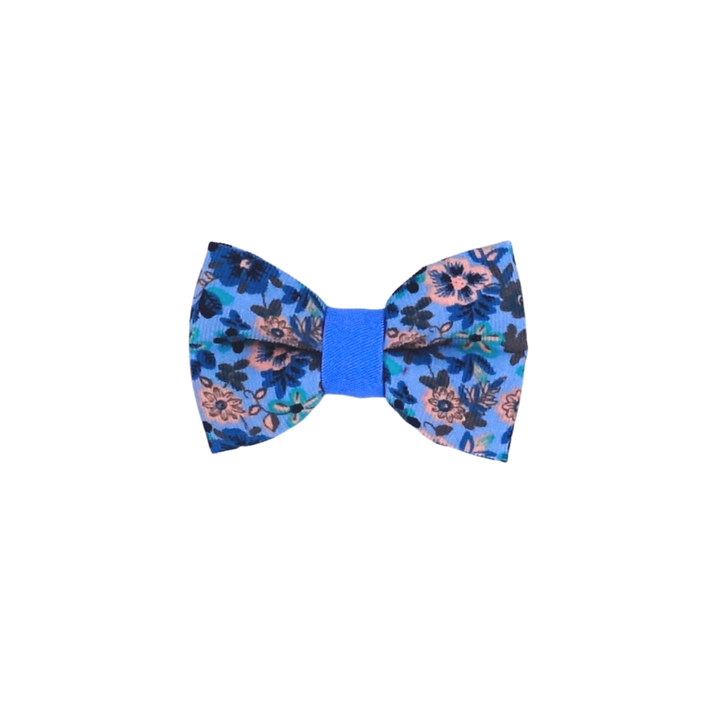 Cornflower Blue Floral Bow Tie