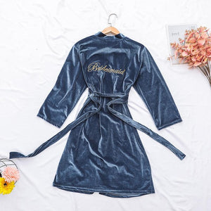 Velvety Embroidered Bridal Party Robes