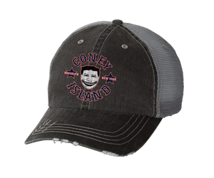 Coney Island hat, vintage Steeplechase funny face design on a gray two-toned distressed baseball cap with a mesh back, hand-printed, handmade gifts for everyone made in Brooklyn NY