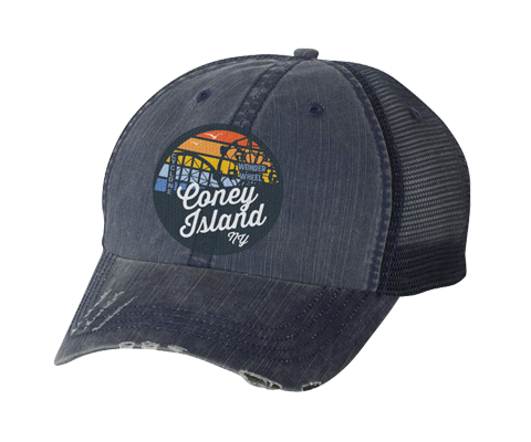 Coney island hat,rainbow surfer patch , distressed navy blue mesh classic baseball cap, hand-applied patch, handmade gifts made for everyone in Brooklyn NY
