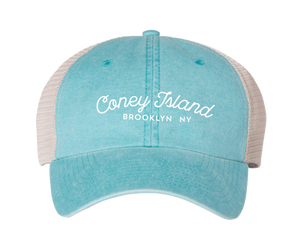 Coney Island hat, coneytown script design on a baby blue classic baseball cap with a white mesh back, hand-printed, handmade gifts for everyone made in Brooklyn NY