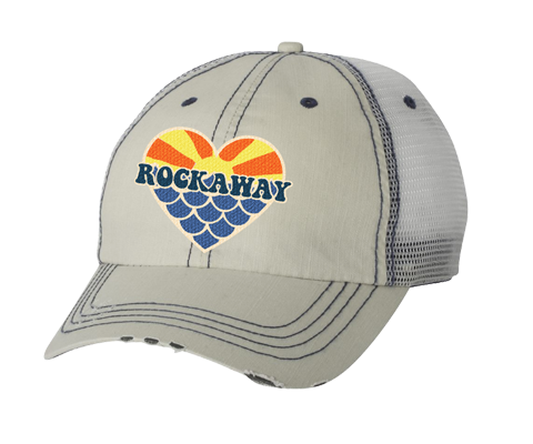 Rockaway Sunset Mermaid Heart Embroidered Tan Mesh Back Hat