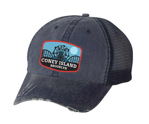 Coney Island hat, Blue Moon amusement park patch design on a distressed navy blue mesh back classic baseball cap, and applied patch, handmade gifts for everyone made in Brooklyn NY