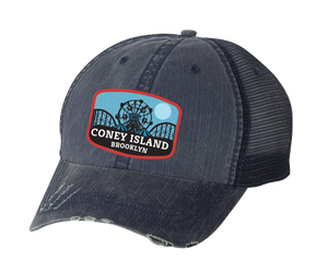 Load image into Gallery viewer, Coney Island hat, Blue Moon amusement park patch design on a distressed navy blue mesh back classic baseball cap, and applied patch, handmade gifts for everyone made in Brooklyn NY