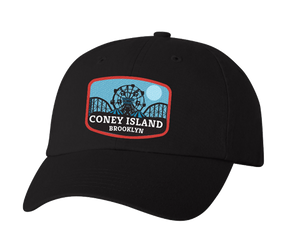 Coney Island hat, Blue Moon amusement park patch design with red trim on a navy blue classic baseball cap, hand-applied patch, handmade gifts for everyone made in Brooklyn NY