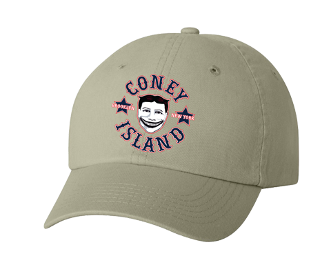 Coney Island hat, vintage Steeplechase funny face design on a classic baseball caps many color choices, hand-printed, handmade gifts made in Brooklyn NY