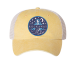 Rockaway Starlight Mermaid Embroidered Yellow & White Mesh Hat
