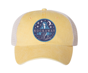 Rockaway Beach hat, Rockaway Starlight mermaid patch design on a classic embroidered yellow baseball cap with a white mesh back, and applied patch, handmade gifts for everyone made in Brooklyn