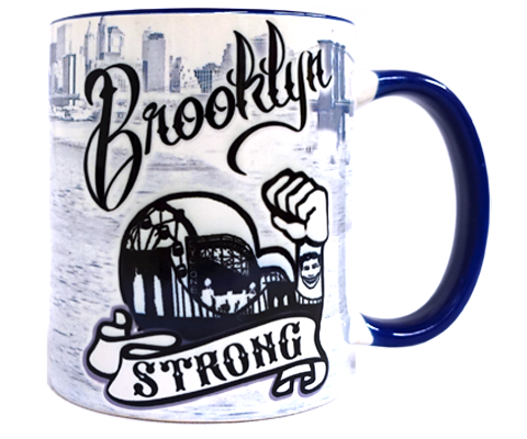 Load image into Gallery viewer, Brooklyn mug, classic Brooklyn, Cyclone roller coaster design on a black and white handmade mug, handmade gifts for everyone made in Brooklyn NY
