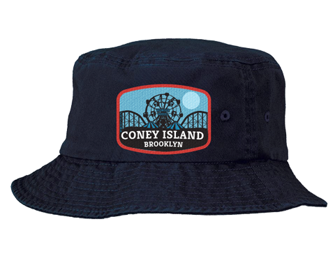 Coney Island bucket hat, Blue Moon amusement park patch design with red trim on a navy blue bucket hat, and a hand applied patch, handmade gifts for everyone made in Brooklyn NY