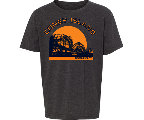 Coney island T-shirt for kids, retro Sunset design with Cyclone roller coaster, handmade gifts for kids made in Brooklyn NY