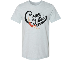 Coney Island Swimmer Light Blue Adult Tee