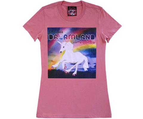 Dreamland Roller Disco Rainbow Unicorn Fitted Tee