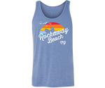 Rockaway Rainbow Surfer Heather Medium Blue Tank Top