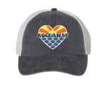 Rockaway Sunset Mermaid Heart Embroidered Asphalt & White Mesh Hat