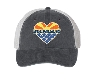Load image into Gallery viewer, Rockaway Beach hat, Rockaway Sunset mermaid heart patch design on a classic black embroidered baseball cap, hand-applied patch, handmade gifts for everyone made in Brooklyn NY