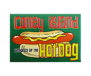 Load image into Gallery viewer, Coney Island magnet, vibrant green and yellow colors, retro hot dog design on a handmade magnet, handmade gifts for everyone made in Brooklyn NY