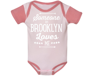 Brooklyn Baby Onesie, hand-printed design on a Raglan style Dusty pink baby's onesie, handmade gifts for babies made in Brooklyn NY