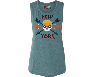 New York tank top for ladies, retro 80's style, skull and arrow,Handmade gifts for her made in Brooklyn NY