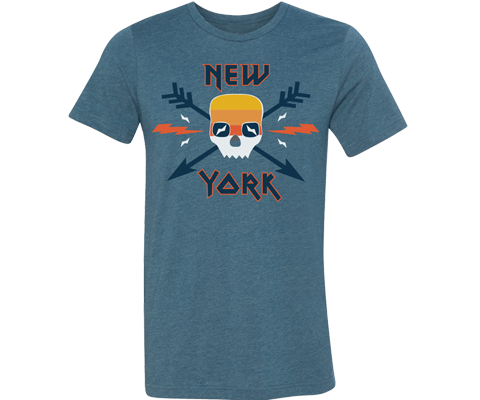 New York Surfer Skull Adult Tee
