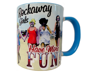 Rockaway Beach mug, Rockaway girls have more fun prints with ladies and vintage swimsuits on a sandy beach backdrop, handmade magnet, handmade gifts made in Brooklyn NY
