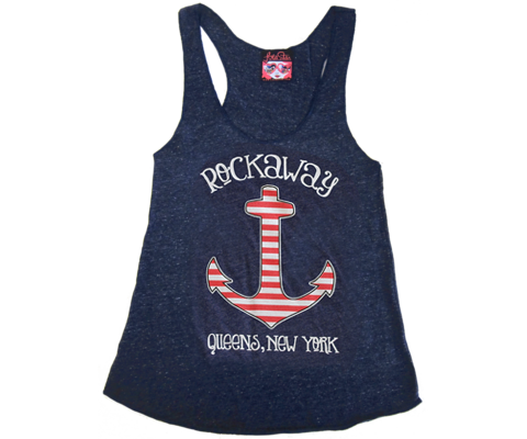 Rockaway Striped Anchor Racer Back Tank