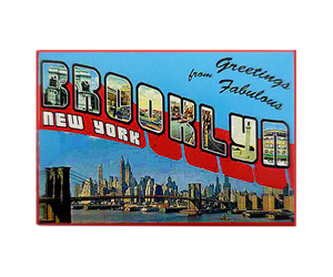Brooklyn magnet, retro postcard style design with Brooklyn landscape on a handmade magnet, handmade gifts for everyone made in Brooklyn NY