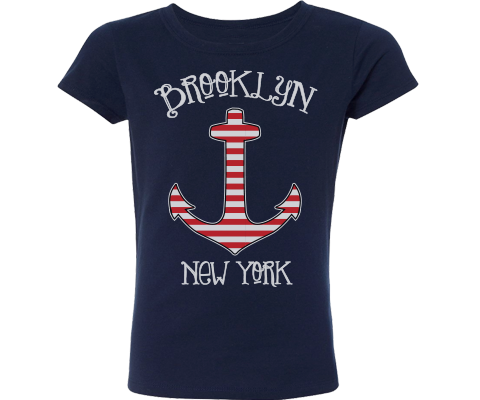 Brooklyn t-shirt for girls, cute nautical themed with anchor design on a Navy t-shirt, handmade gifts for kids made in Brooklyn NY
