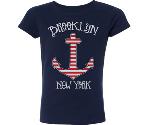 Load image into Gallery viewer, Brooklyn Striped Anchor Navy Girls Tee