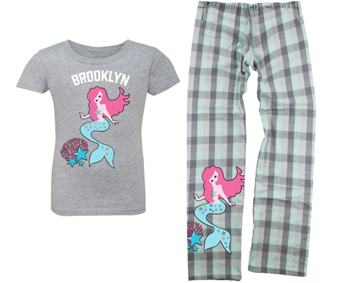 Coral Mermaid Kids Pajama Set- Lots of Neighborhoods Available