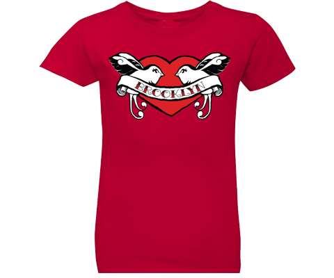 Brooklyn t-shirt for girls, retro love birds tattoo design on a red t-shirt, handmade gifts for kids made in Brooklyn NY