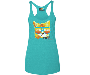 Brooklyn tank top for ladies, fun cat design, handmade gifts for her made in Brooklyn NY