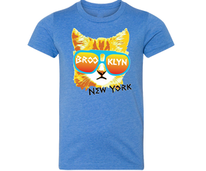 Brooklyn t-shirt for kids, adorable fun cat design on a blue t-shirt, handmade gifts for kids made in Brooklyn NY