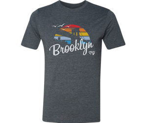 Brooklyn Tee shirt for adults, retro surfer with rainbow design,Handmade gifts for her made in Brooklyn NY