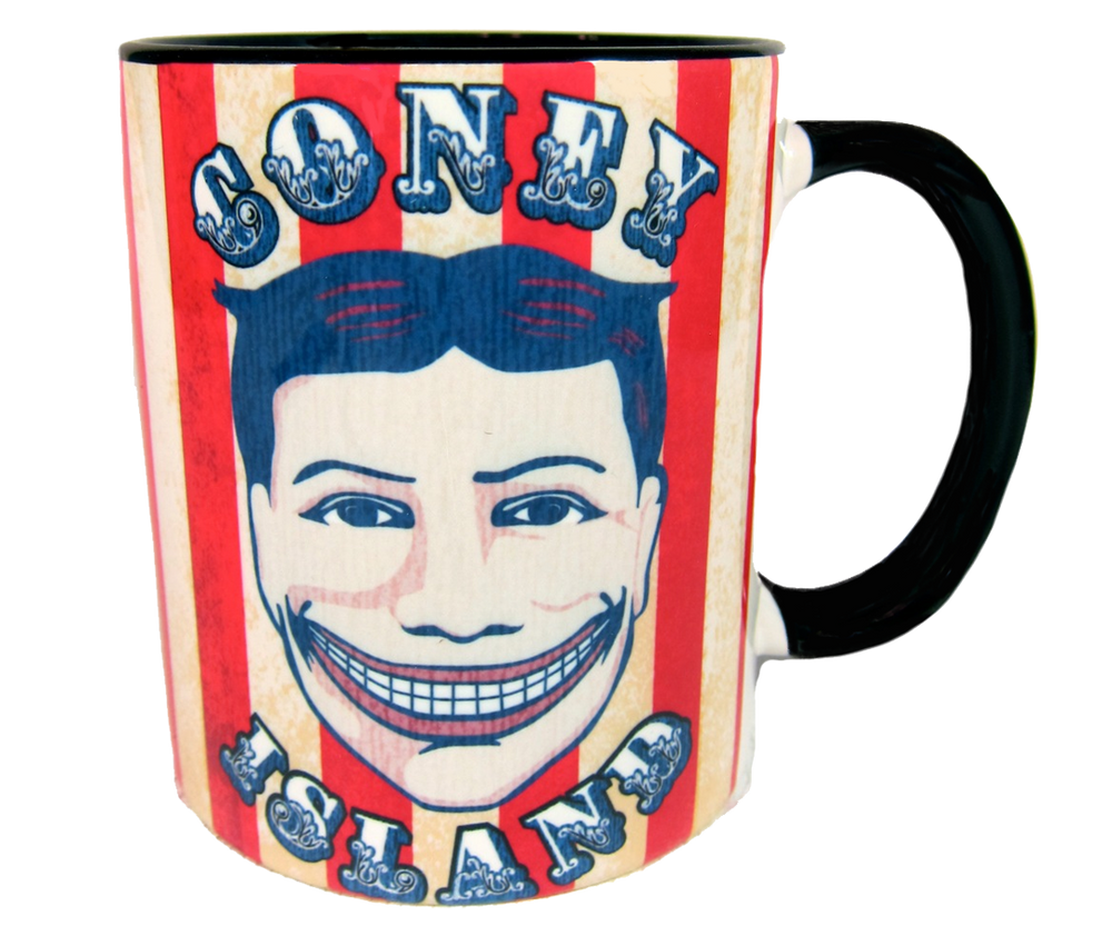 Coney Island mug, vintage Steeplechase funny face design on a red and white striped background, handmade mug, handmade gifts made in Brooklyn NY