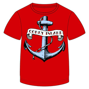 Load image into Gallery viewer, Coney Island Anchor Red Kids Tee