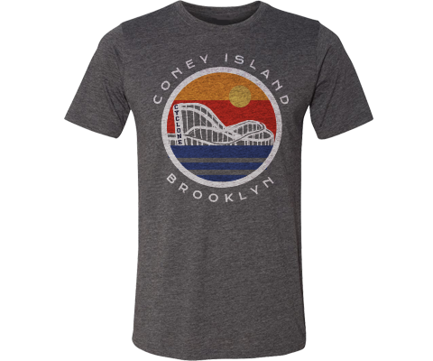 Coney Globe Adult Tee in Heather Gray