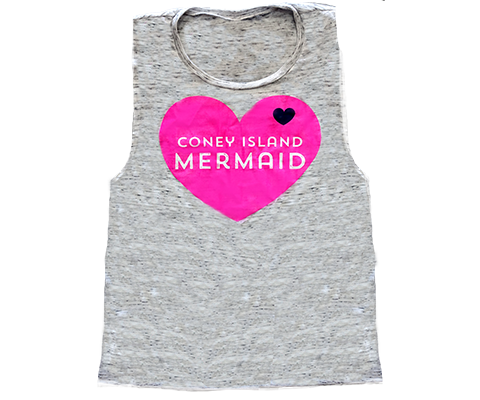 Coney Island Mermaid Heart Muscle Tee