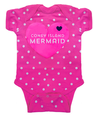 A Coney Island onesie. A mermaid heart design on a hot pink baby girls onesie with white polka dots. Handmade for babies in Brooklyn New York. The cutest baby shower gift ever.