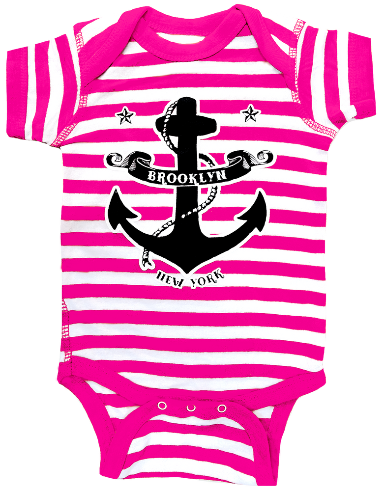 Pink Brooklyn Anchor Striped Onesie