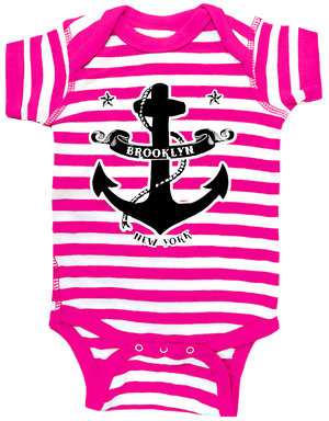The coolest Brooklyn onesie. Hot pink stripes with an anchor design on a baby girls onesie. Handmade gifts for babies and parents to be made in Brooklyn New York.