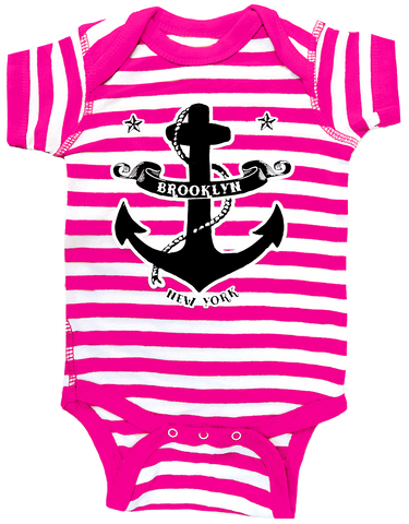 Pink Brooklyn Anchor Striped Romper