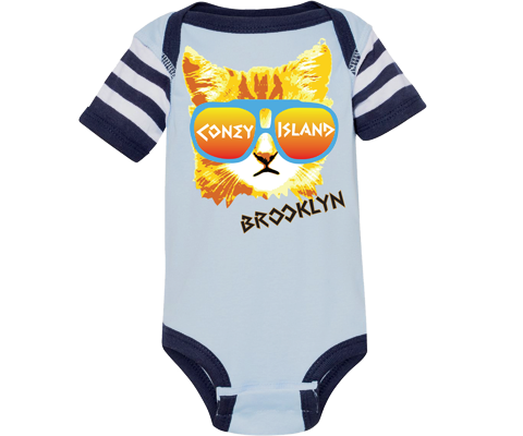 Coney Rad Cat Stripe Blue Onesie