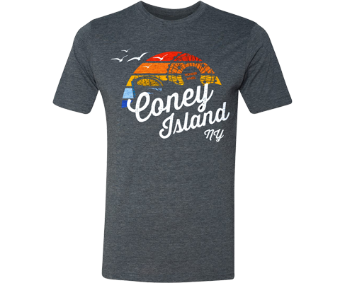 Coney Island Rainbow Surfer Adult Tee in Heather Blue